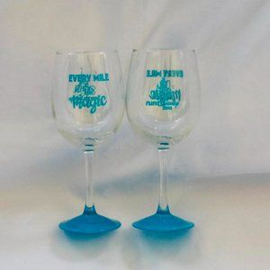 2018 Run Disney Marathon Stemmed Wine Glasses